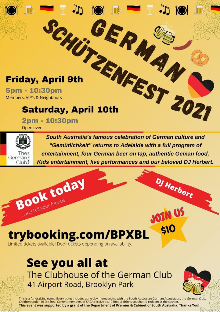 Schuetzenfest Flyer 2021 German Club Adelaide SAGA